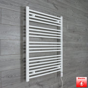 800mm Wide 1000mm High Flat WHITE Pre-Filled Electric Heated Towel Rail Radiator HTR,GT Thermostatic
