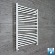 750mm Wide 1000mm High Flat White Heated Towel Rail Radiator HTR,With Straight Valve