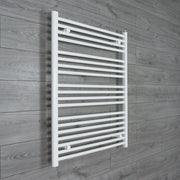 750mm Wide 1000mm High Flat WHITE Pre-Filled Electric Heated Towel Rail Radiator HTR