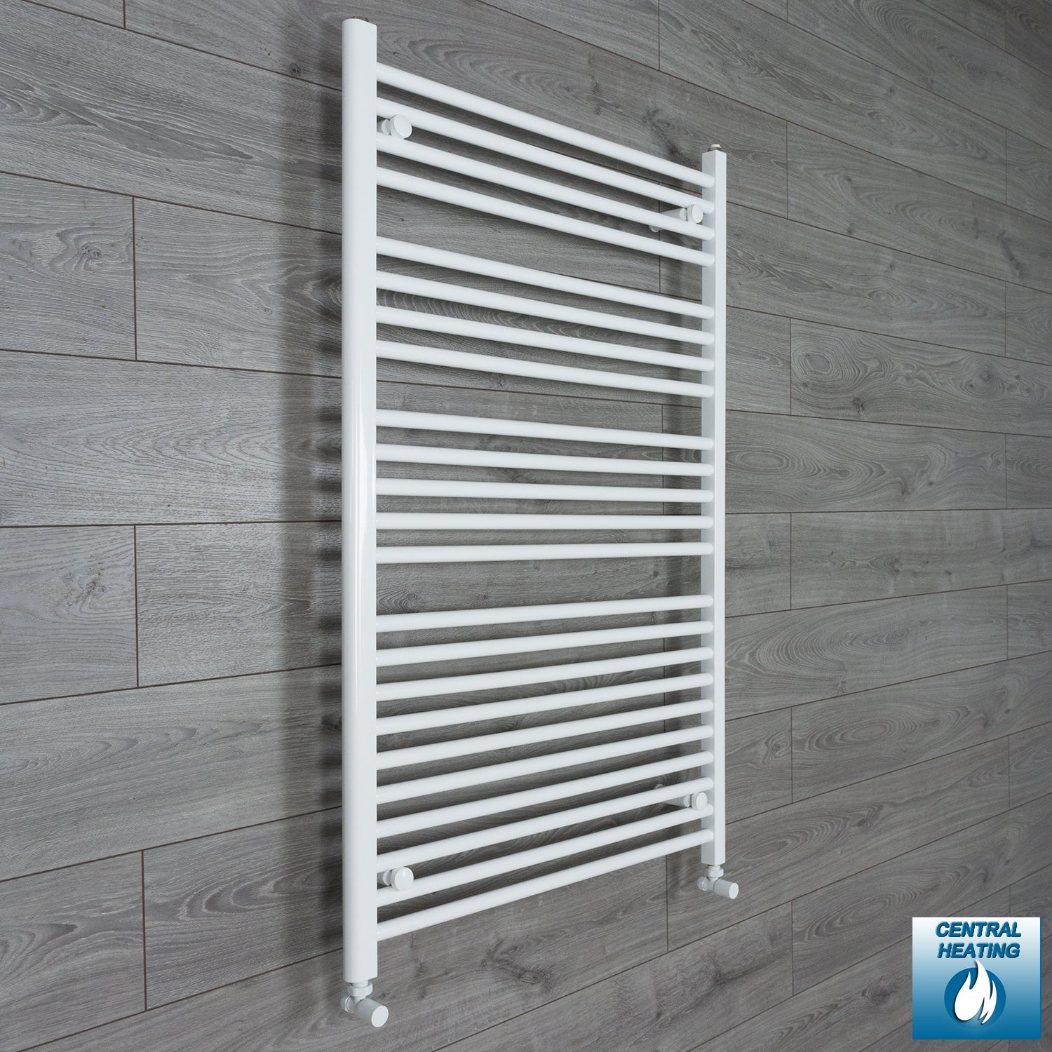 850mm Wide 1200mm High Flat White Heated Towel Rail Radiator HTR,With Angled Valve
