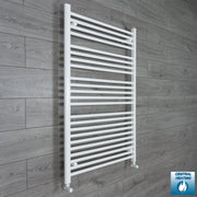 900mm Wide 1200mm High Flat White Heated Towel Rail Radiator HTR,With Angled Valve
