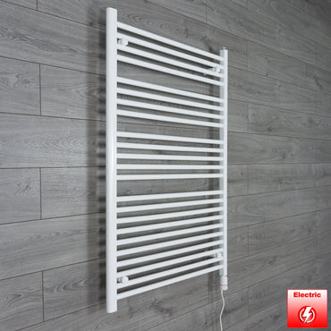 750mm Wide 1100mm High Flat WHITE Pre-Filled Electric Heated Towel Rail Radiator HTR,GT Thermostatic