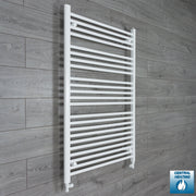 850mm Wide 1200mm High Flat White Heated Towel Rail Radiator HTR,With Straight Valve