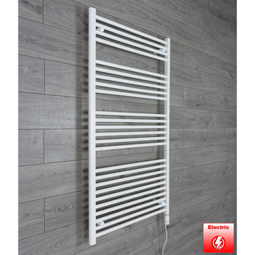 750mm Wide 1400mm High Flat WHITE Pre-Filled Electric Heated Towel Rail Radiator HTR,GT Thermostatic