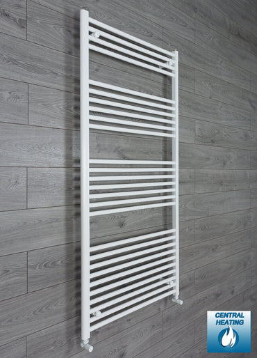 850mm Wide 1600mm High Flat White Heated Towel Rail Radiator HTR,With Angled Valve