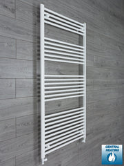 850mm Wide 1600mm High Flat White Heated Towel Rail Radiator HTR,With Straight Valve
