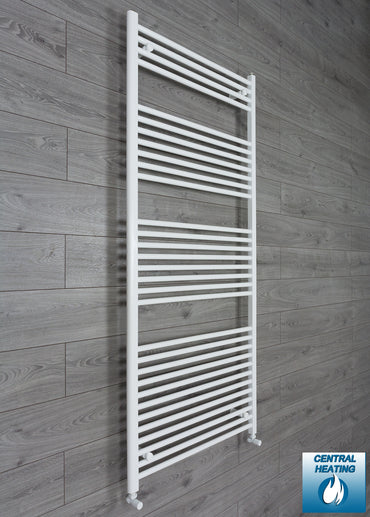 850mm Wide 1800mm High Flat White Heated Towel Rail Radiator HTR,With Angled Valve