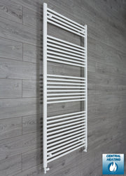 750mm Wide 1800mm High Flat White Heated Towel Rail Radiator HTR,With Straight Valve