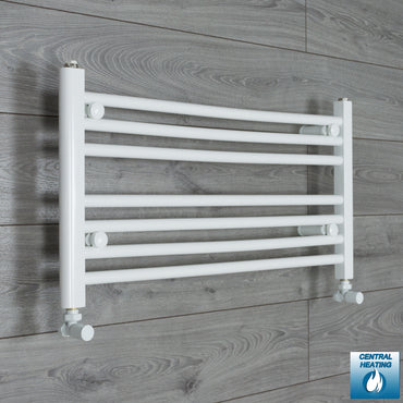800mm Wide 400mm High Flat White Heated Towel Rail Radiator HTR,With Angled Valve