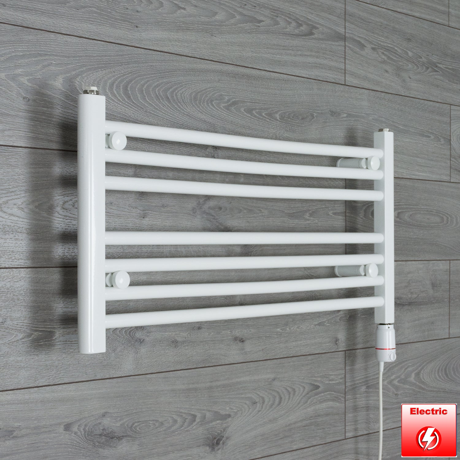 700mm Wide 400mm High Flat WHITE Pre-Filled Electric Heated Towel Rail Radiator HTR,GT Thermostatic