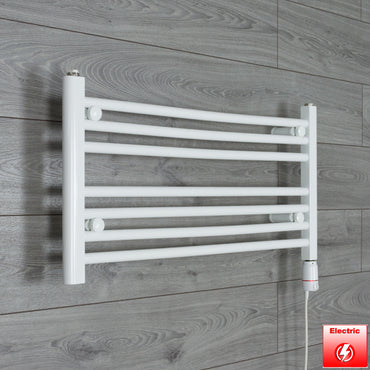 850mm Wide 400mm High Flat WHITE Pre-Filled Electric Heated Towel Rail Radiator HTR,GT Thermostatic