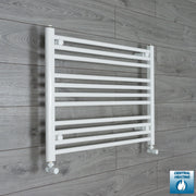 750mm Wide 600mm High Flat White Heated Towel Rail Radiator HTR,With Angled Valve