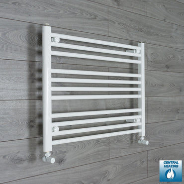 800mm Wide 600mm High Flat White Heated Towel Rail Radiator HTR,With Angled Valve