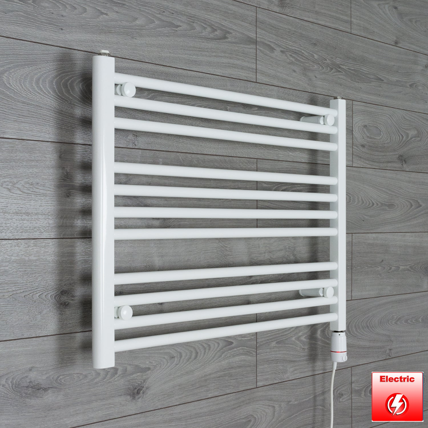 750mm Wide 600mm High Flat WHITE Pre-Filled Electric Heated Towel Rail Radiator HTR,GT Thermostatic