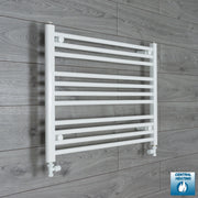 800mm Wide 600mm High Flat White Heated Towel Rail Radiator HTR,With Straight Valve