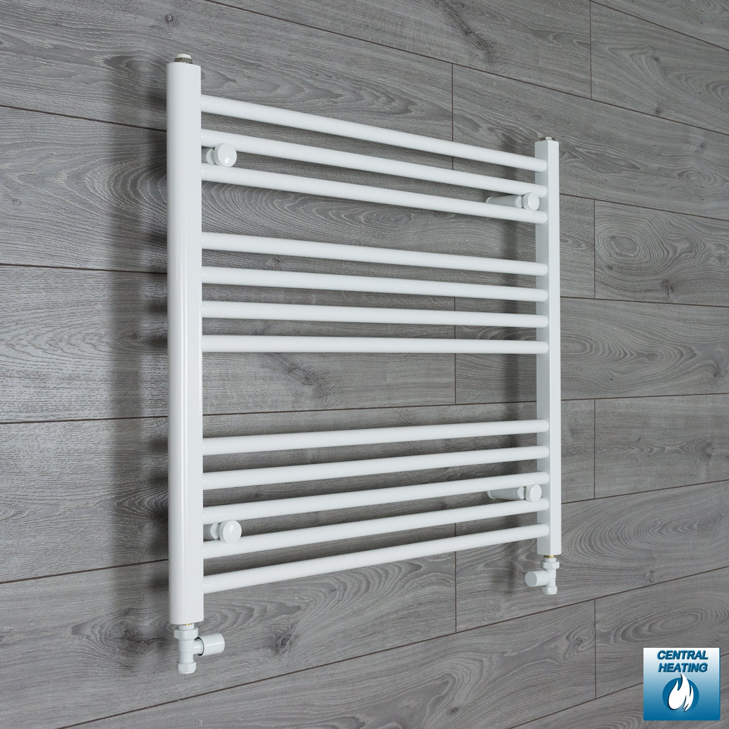 800mm Wide 700mm High Flat White Heated Towel Rail Radiator HTR,With Straight Valve