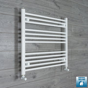 800mm Wide 700mm High Flat White Heated Towel Rail Radiator HTR,With Angled Valve