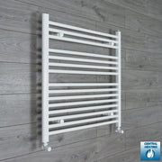 850mm Wide 800mm High Flat White Heated Towel Rail Radiator HTR,With Angled Valve