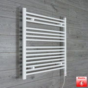 700mm Wide 800mm High Flat WHITE Pre-Filled Electric Heated Towel Rail Radiator HTR,GT Thermostatic