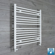 800mm Wide 800mm High Flat White Heated Towel Rail Radiator HTR,With Straight Valve