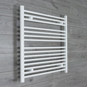 850mm Wide 800mm High Flat WHITE Pre-Filled Electric Heated Towel Rail Radiator HTR
