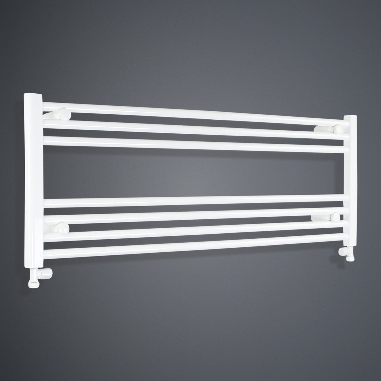 1300mm Wide 400mm High Flat White Heated Towel Rail Radiator HTR,With Straight Valve