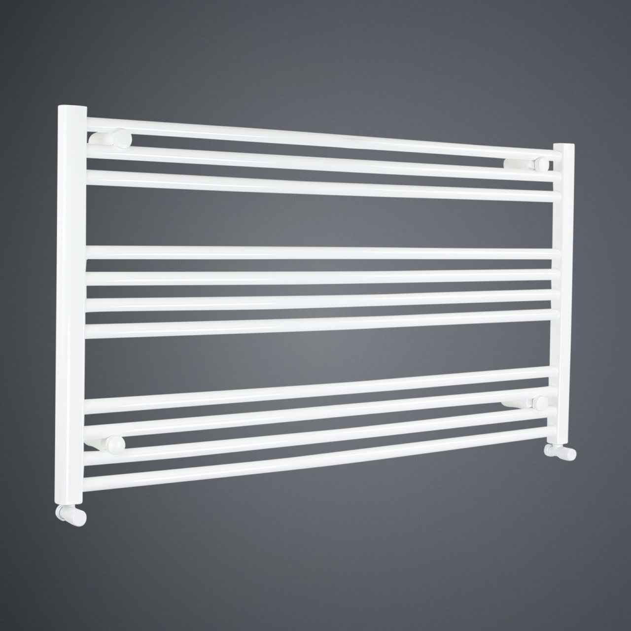 1300mm Wide 600mm High Flat White Heated Towel Rail Radiator HTR,With Angled Valve