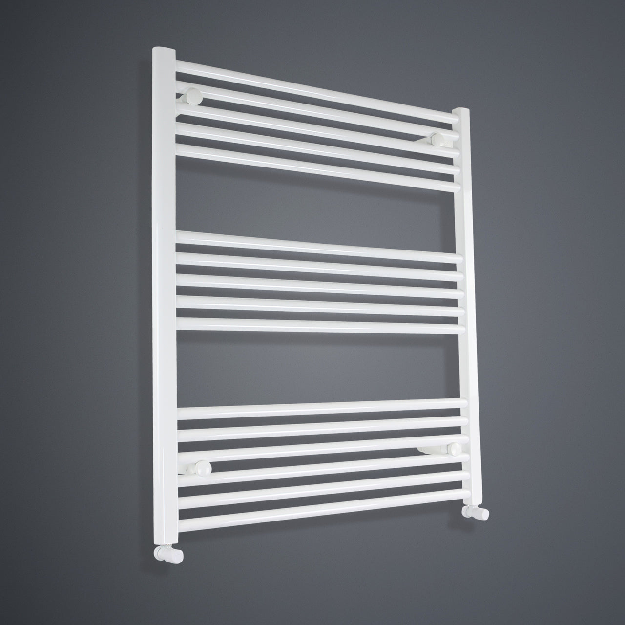 800mm Wide 900mm High Flat White Heated Towel Rail Radiator HTR,With Angled Valve