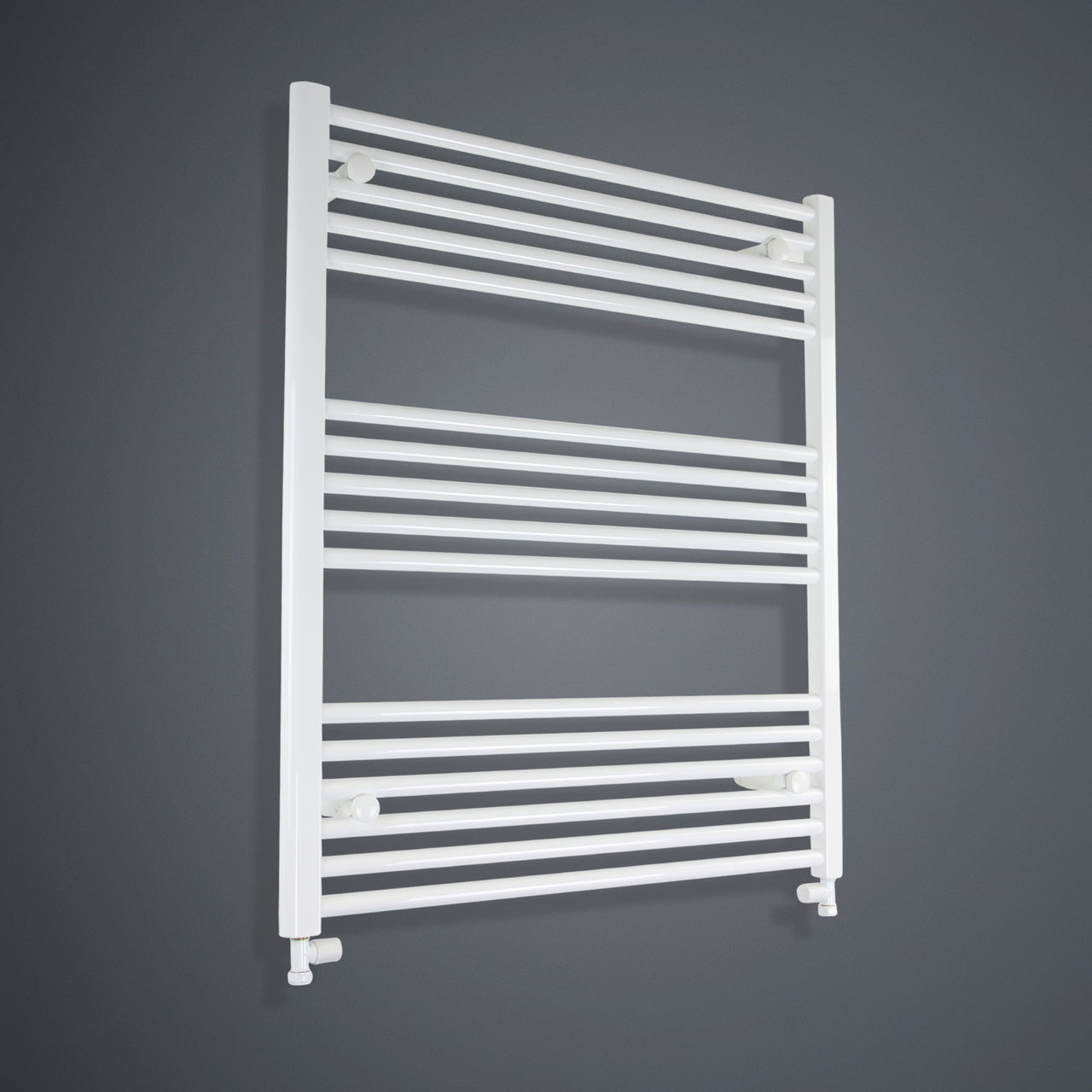 800mm Wide 900mm High Flat White Heated Towel Rail Radiator HTR,With Straight Valve