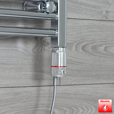 600mm Wide 800mm High Flat Chrome Pre-Filled Electric Heated Towel Rail Radiator HTR