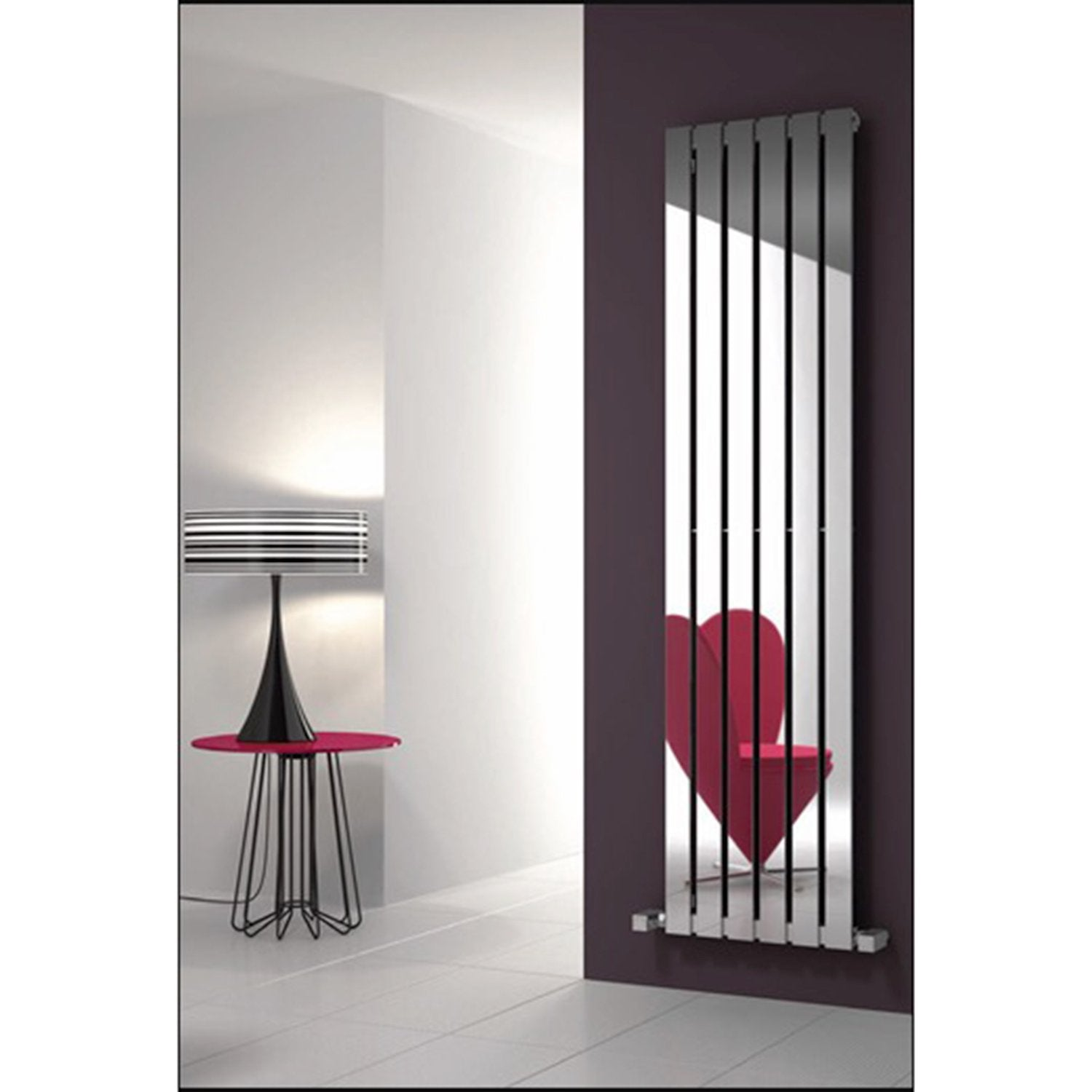 Reina Designer Lavian Vertical Heated Towel Rail Stainless Steel Radiator