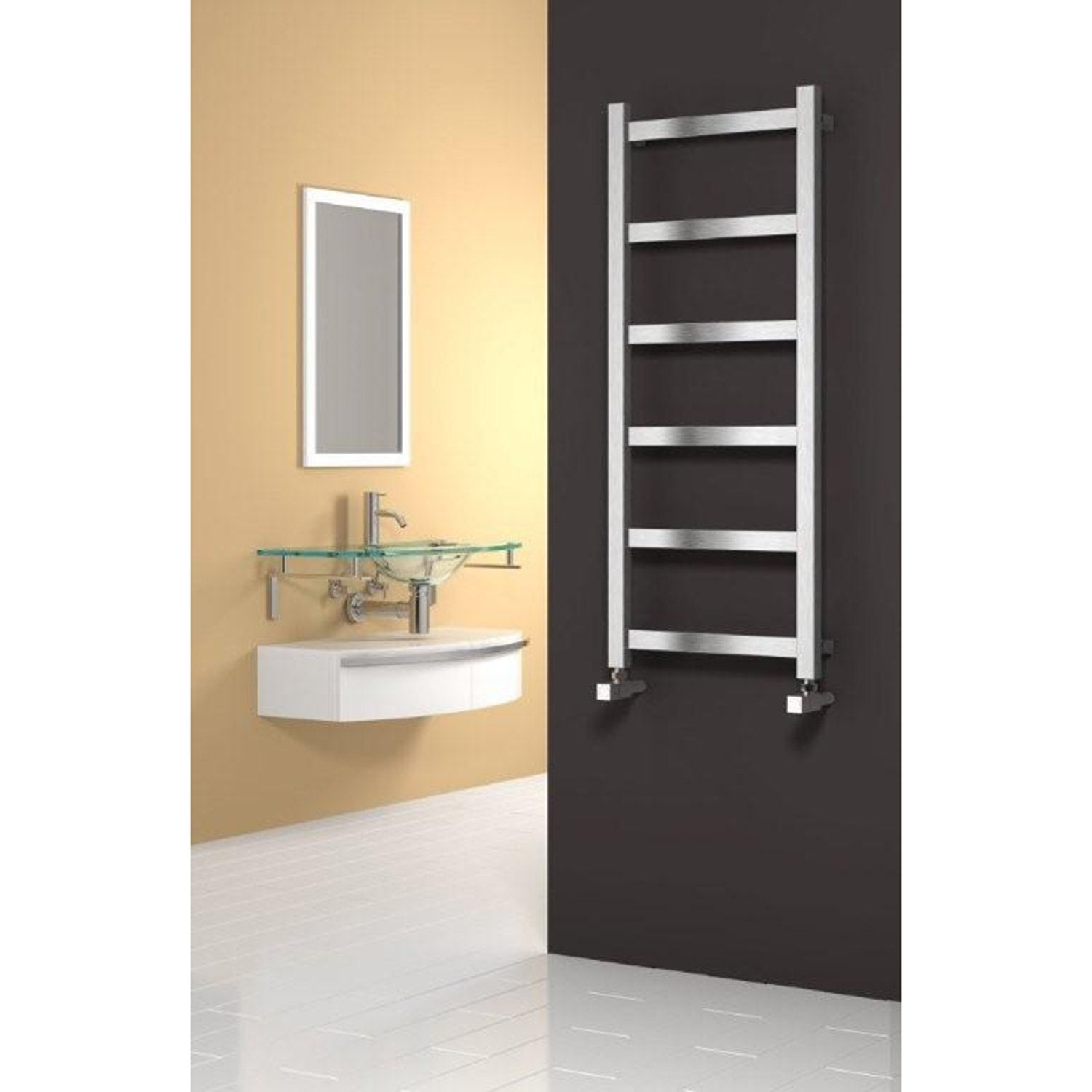 Reina Designer Mina Vertical Heated Towel Rail Stainless Steel Radiator