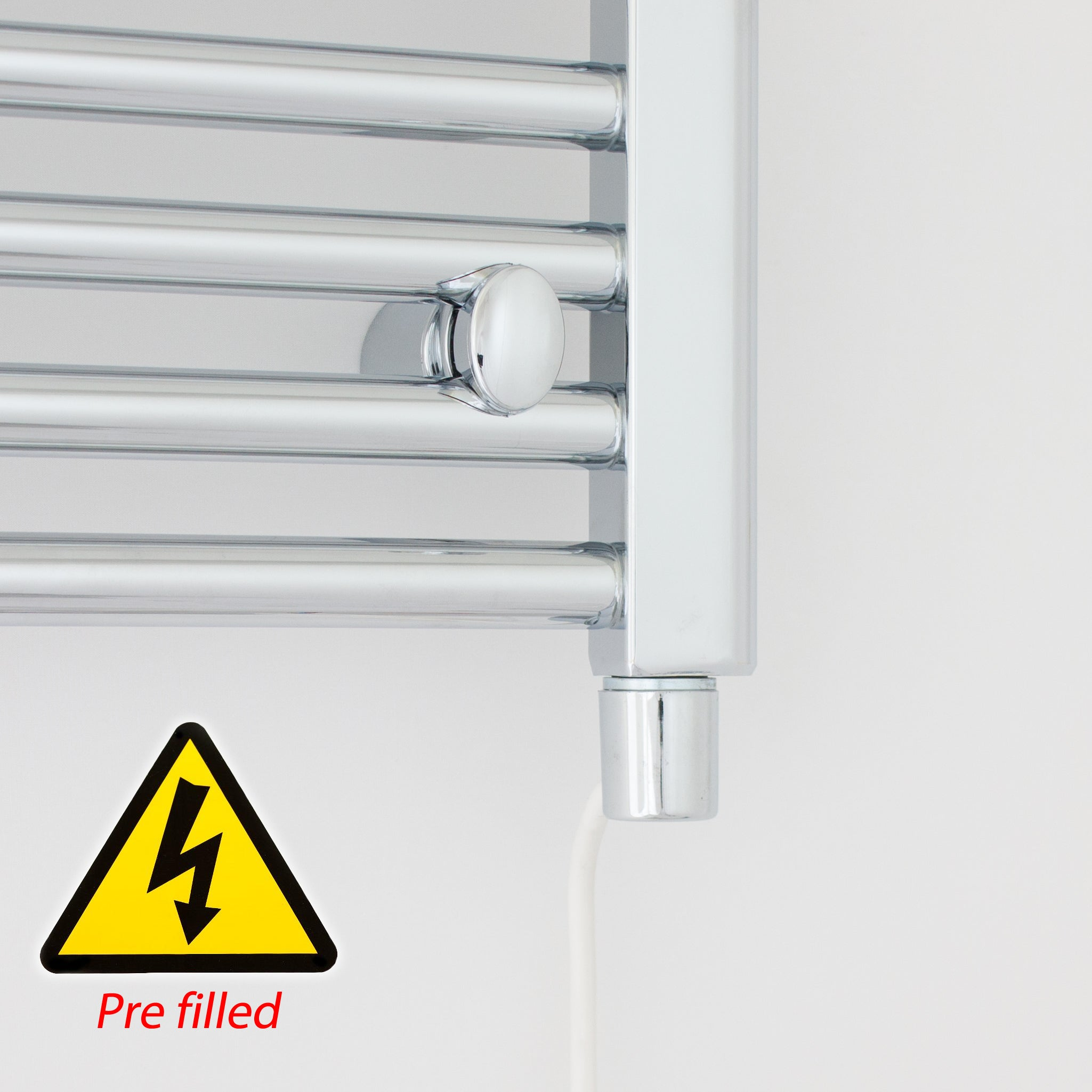400mm Wide 1600mm High Flat Or Curved Chrome Pre-Filled Electric Heated Towel Rail Radiator HTR