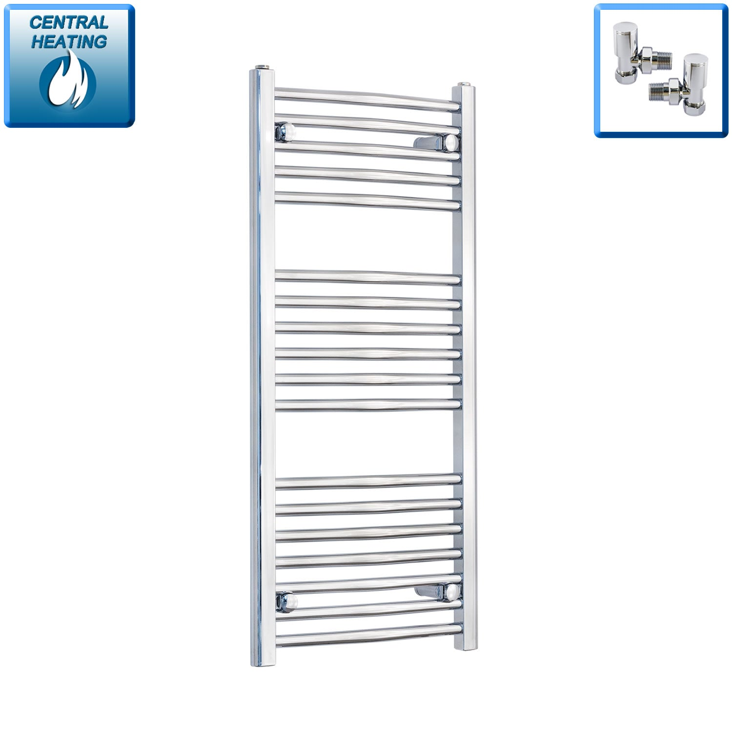 450mm Wide 1000mm High Curved Chrome Heated Towel Rail Radiator HTR,With Angled Valve