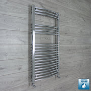 600mm Wide 1100mm High Curved Chrome Heated Towel Rail Radiator HTR,With Angled Valve