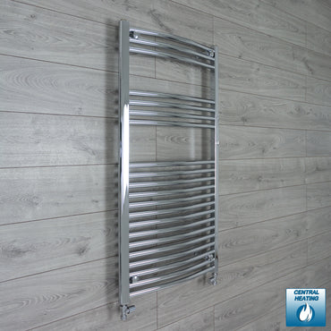 600mm Wide 1100mm High Curved Chrome Heated Towel Rail Radiator HTR,With Straight Valve