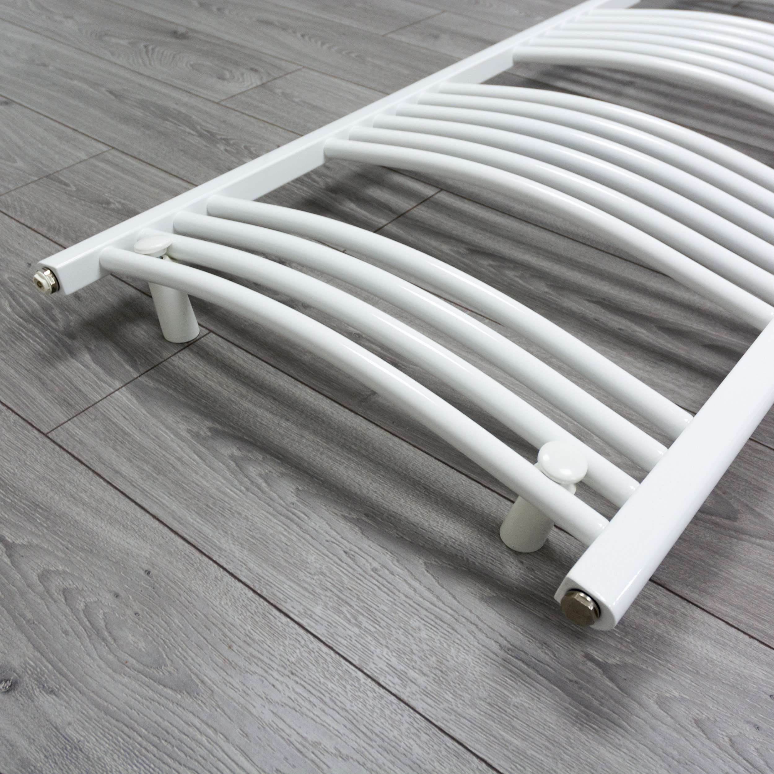 500mm Wide 600mm High Curved White Heated Towel Rail Radiator Gas or Electric