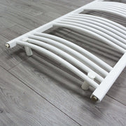 450mm Wide 900mm High Curved White Heated Towel Rail Radiator Gas or Electric