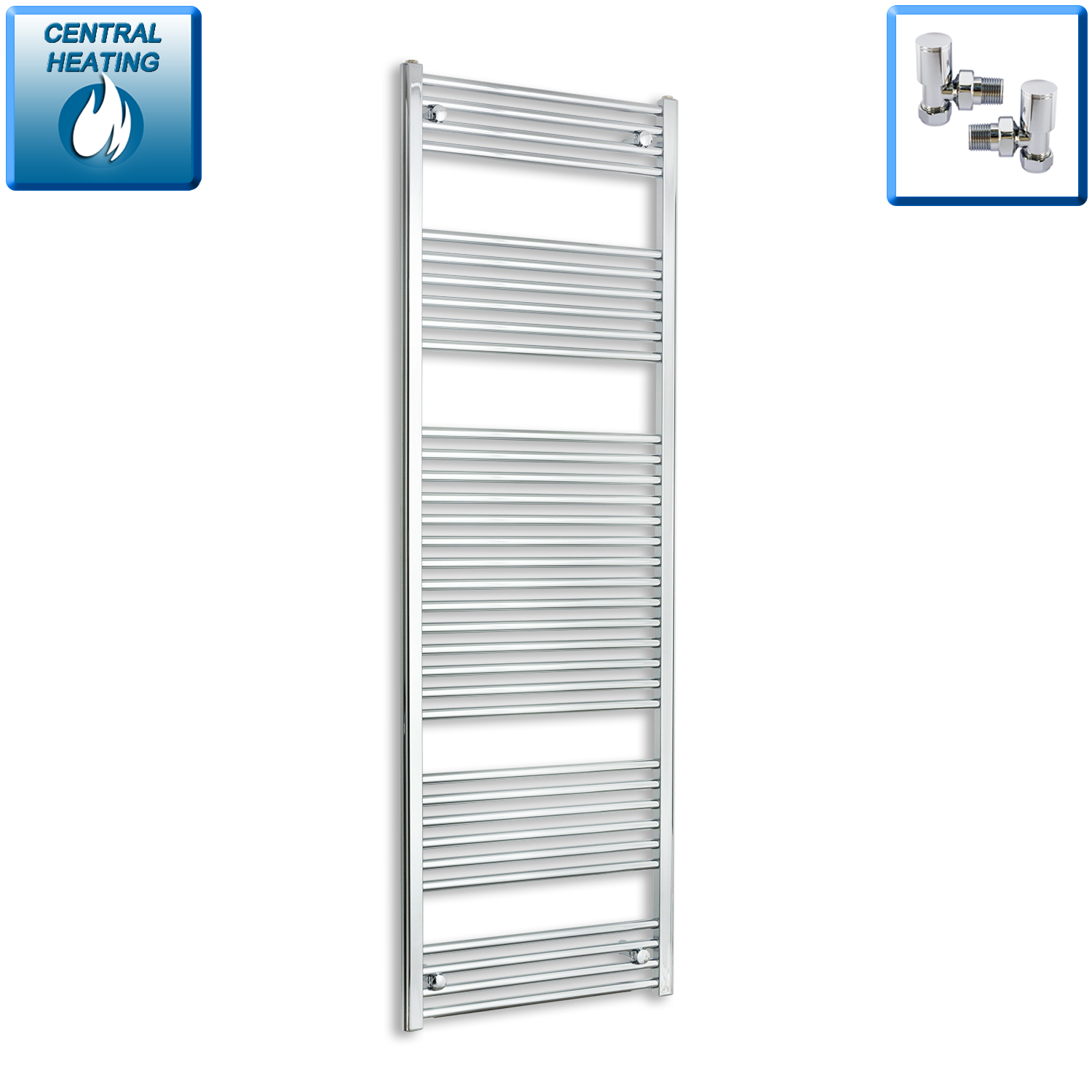 500mm Wide 1800mm High Straight Chrome Heated Towel Rail Radiator HTR,With Angled Valve