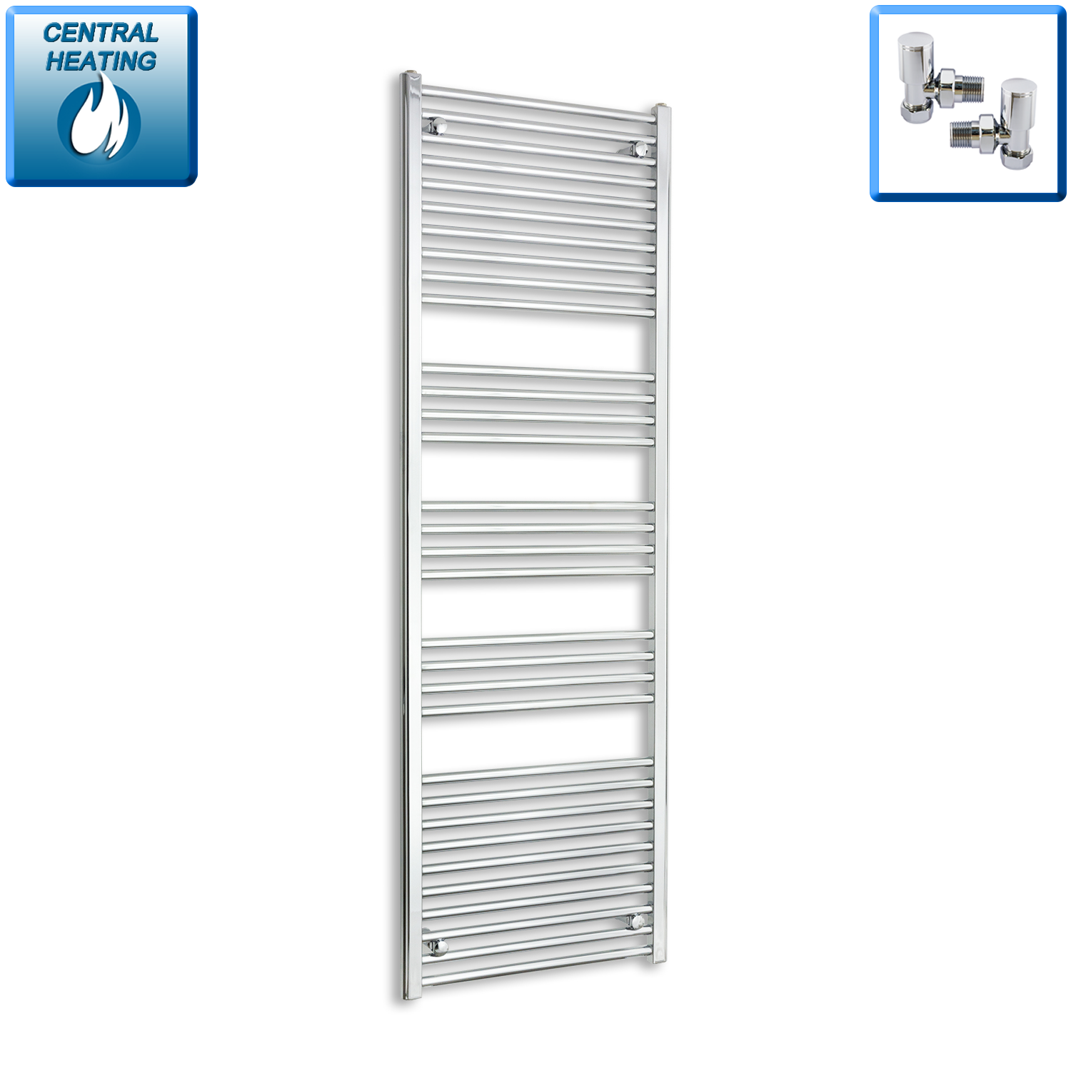 600mm Wide 1800mm High Straight Chrome Heated Towel Rail Radiator HTR,With Angled Valve
