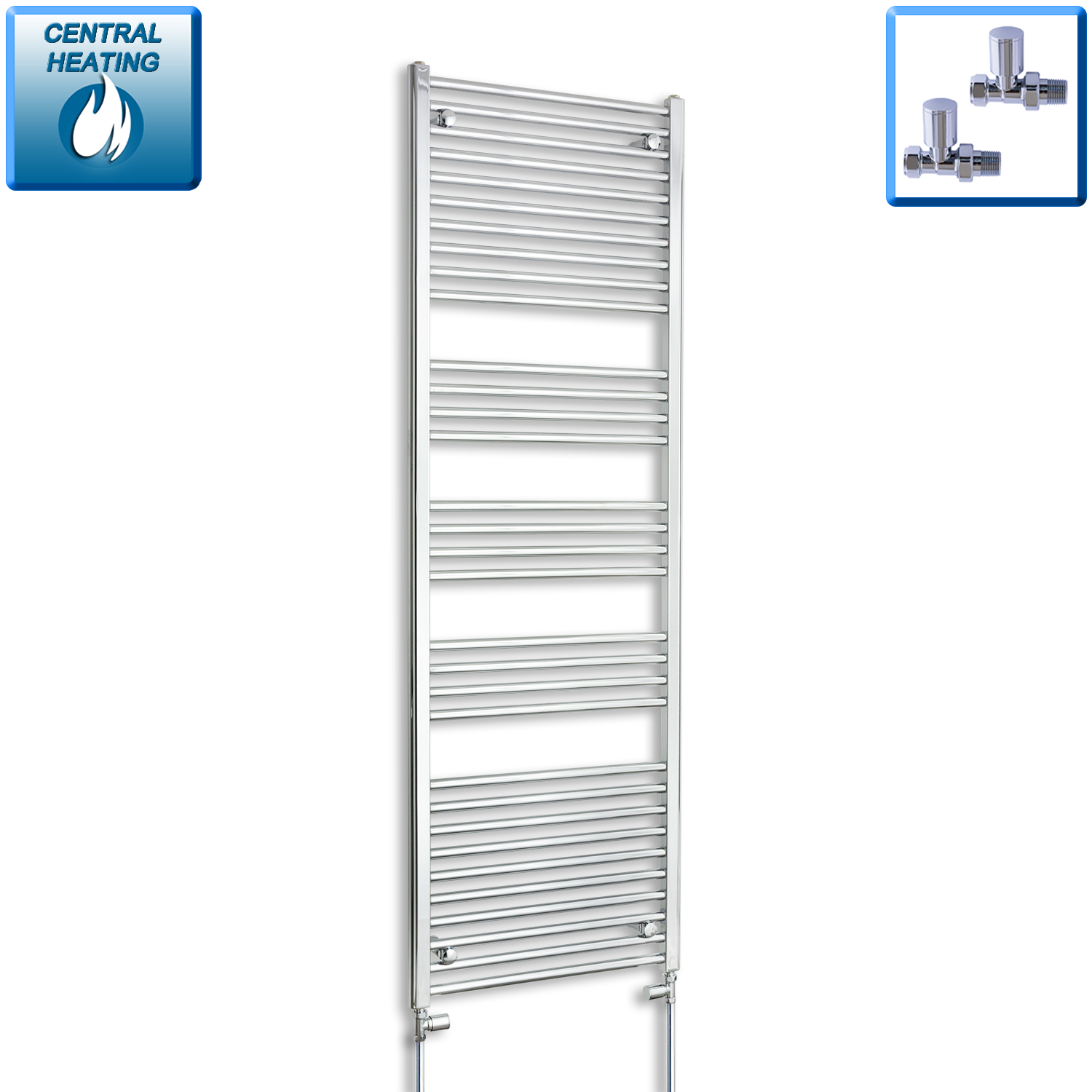 600mm Wide 1800mm High Straight Chrome Heated Towel Rail Radiator HTR,With Straight Valve
