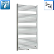 750mm Wide 1800mm High Straight Chrome Heated Towel Rail Radiator HTR Dual Fuel,With Angled Valve