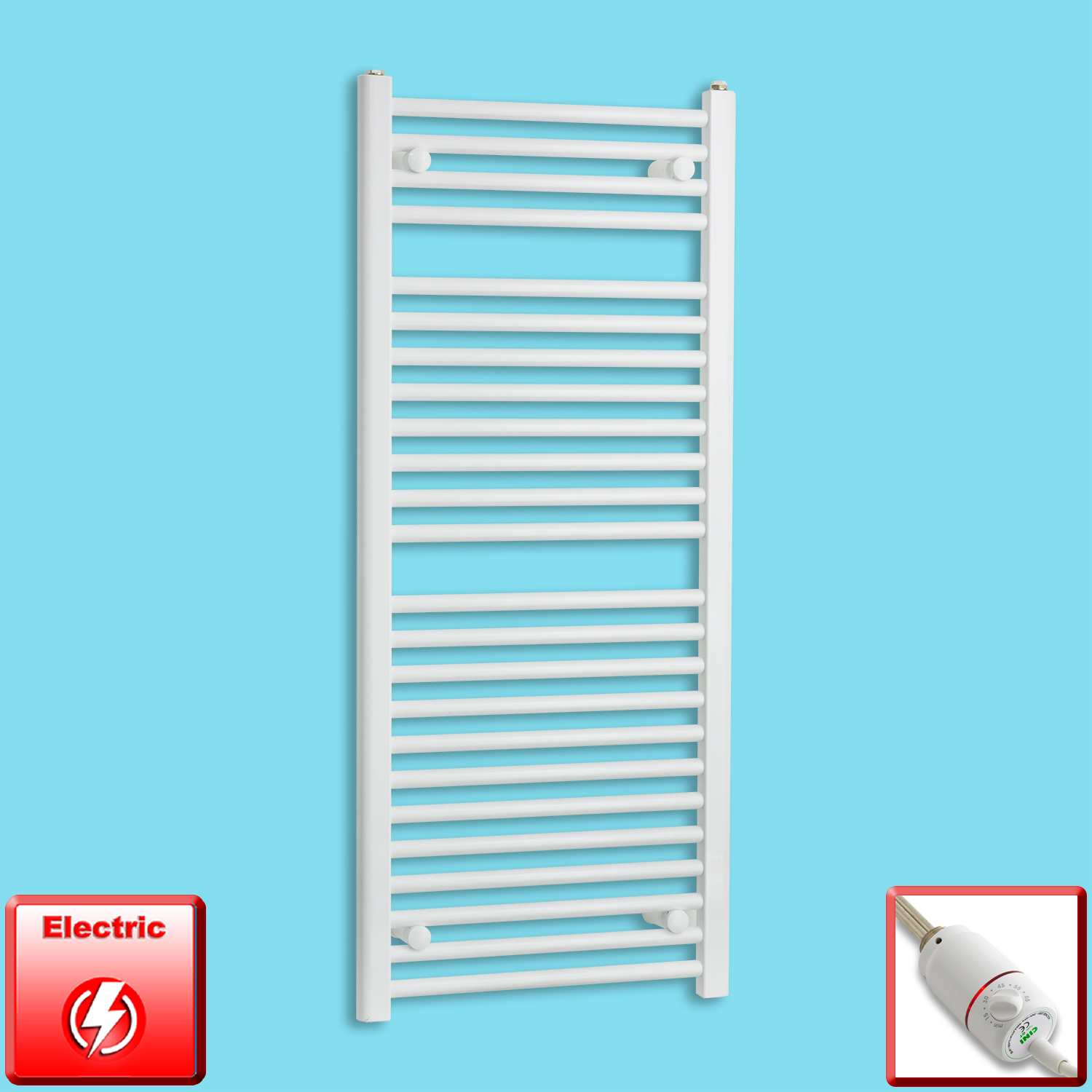 500mm Wide 1200mm High Flat White Pre-Filled Electric Heated Towel Rail Radiator HTR,GT Thermostatic