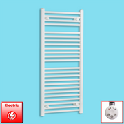 500mm Wide 1200mm High Flat White Pre-Filled Electric Heated Towel Rail Radiator HTR,MEG Thermostatic Element