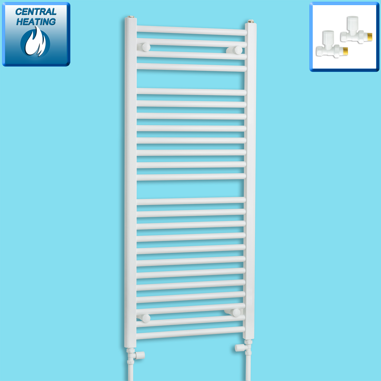 500mm Wide 1200mm High Flat White Heated Towel Rail Radiator Gas or Electric,With Straight Valve