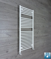 500mm Wide 1200mm High Flat White Heated Towel Rail Radiator Gas or Electric,With Angled Valve