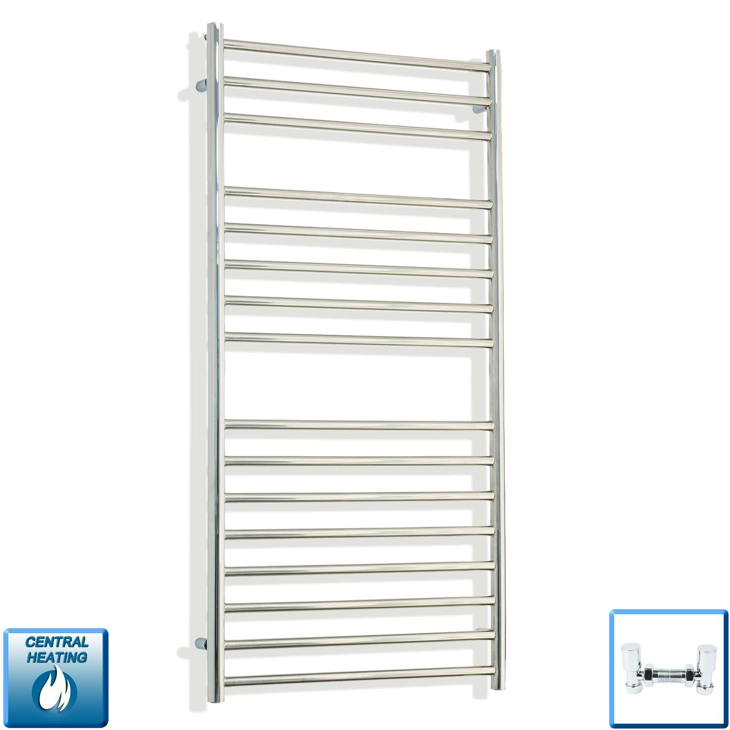 600mm Wide 1200mm High Stainless Steel Polished Heated Flat Towel Rail Radiator Central heating,With Angled Valves