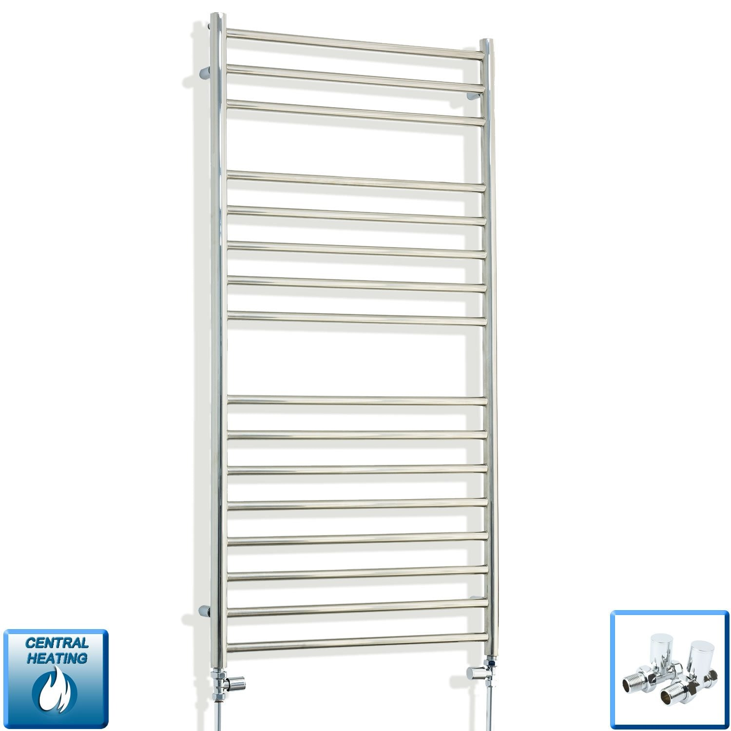 600mm Wide 1200mm High Stainless Steel Polished Heated Flat Towel Rail Radiator Central heating,With Straight Inline Valves