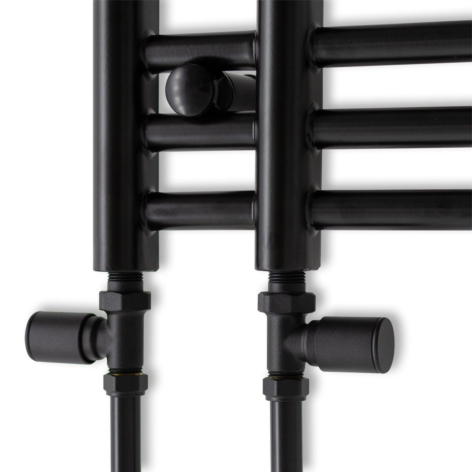 500mm Wide 900mm High Black Towel Rail Radiator With Angled Valve