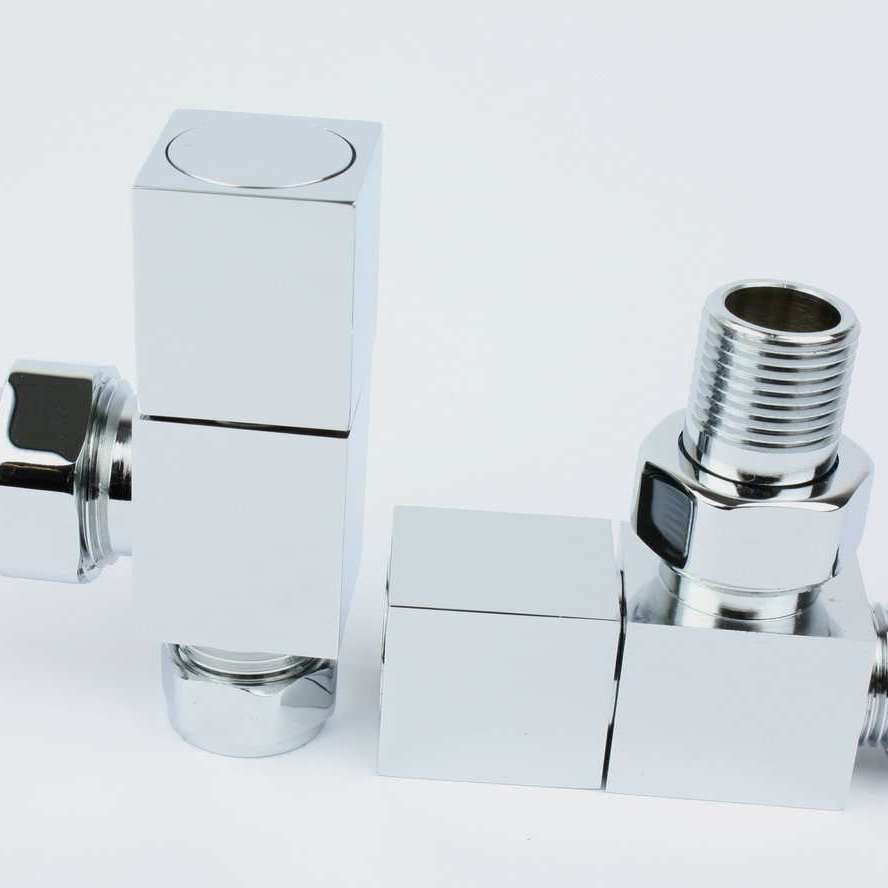 Angled Chrome Towel Rail Radiator Square Valve Pair